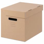 ПАППИС Коробка с крышкой,коричневый